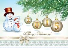 Carte de Noël avec les boules 2015 de Noël Images libres de droits