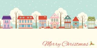 Carte de Noël avec les cottages mignons dans le style de victorian illustration stock