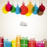 Carte de Noël avec les décorations de Noël et les présents, rétro VE Image libre de droits