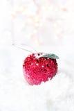 Carte de Noël avec les décorations et le Li rougeoyants de fête de Noël Image stock