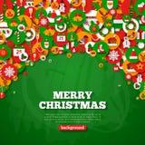 Carte de Noël avec les icônes plates de vacances en cercles Photo libre de droits