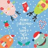 Carte de Noël avec les monstres drôles mignons Image stock