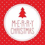 Carte de Noël avec les souhaits, l'arbre et les points de polka Image libre de droits