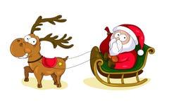 Carte de Noël avec Santa Claus et les cerfs communs mignons illustration de vecteur