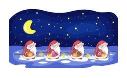 Carte de Noël avec Santa et guirlande mignonnes illustration libre de droits