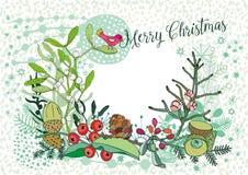 Carte de Noël avec un oiseau, un gui et des baies, ensemble de vecteur illustration stock