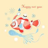 Carte de Noël avec un poisson illustration libre de droits