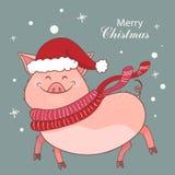 Carte de Noël avec un porc mignon Symbole de l'année 2019 Porcin est habillé dans un chapeau nouveau an et chauffe l'écharpe roug illustration libre de droits