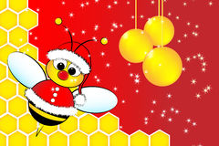 Carte de Noël avec une abeille le père noël et la ruche Images stock