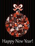 Carte de Noël avec une boule illustration stock