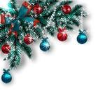 Carte de Noël Bleu avec les branches d'arbre vertes, les boules rouges et les rubans sur un fond blanc Coin avec l'ombre et Images libres de droits