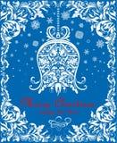 Carte de Noël bleue de vintage de salutation avec la cloche florale de la pose de papier peint et la frontière décorative florale Photographie stock libre de droits