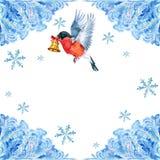 Carte de Noël Bouvreuil avec la cloche de Noël sur l'aquarelle de modèle de gel sur le fond blanc Photos stock