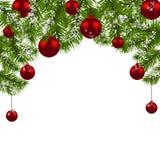 Carte de Noël Branches vertes d'un arbre de Noël avec les boules et les flocons de neige rouges sur un fond blanc An neuf Image libre de droits