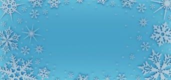 Carte de Noël décorée des flocons de neige blancs Modèle pour des salutations de Noël illustration de vecteur