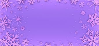 Carte de Noël décorée des flocons de neige blancs Modèle pour des salutations de Noël illustration libre de droits