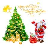 Carte de Noël d'aquarelle avec les cadeaux de Santa Claus et l'arbre de Noël et ange d'isolement illustration de vecteur