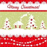 Carte de Noël de dessin animé avec l'arbre de Noël, billes, hous illustration de vecteur