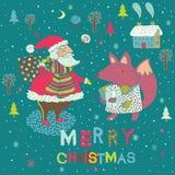 Carte de Noël de l'hiver avec Santa et Fox illustration stock