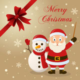 Carte de Noël de Santa Claus et de bonhomme de neige Photographie stock libre de droits