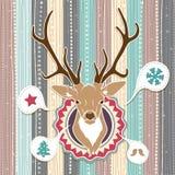 Carte de Noël de vecteur de vintage avec des cerfs communs. Couleurs en pastel froides illustration de vecteur