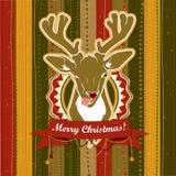 Carte de Noël de vecteur de vintage avec des cerfs communs montrant sa langue illustration de vecteur