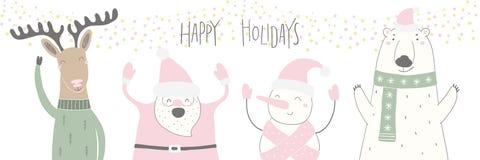 Carte de Noël drôle de personnages de dessin animé illustration libre de droits