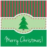 Carte de Noël en vert avec les bars et l'arbre rouges Images stock