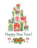 Carte de Noël et d'an neuf Photo libre de droits