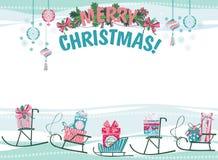 Carte de Noël et d'an neuf Image libre de droits
