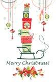Carte de Noël et d'an neuf Image stock