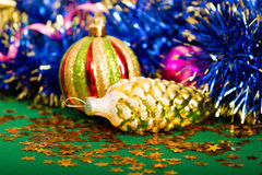Carte de Noël Fond avec des décorations de Noël Photos libres de droits