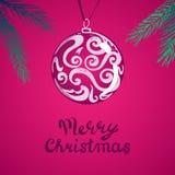 Carte de Noël Fond rouge de célébration avec l'arbre de Noël, boule, endroit pour votre texte Illustration de vecteur Photos stock