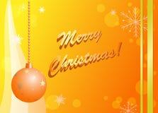 Carte de Noël jaune et orange de vecteur Image stock