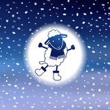 Carte de Noël mignonne avec des moutons Images stock