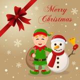 Carte de Noël mignonne d'Elf et de bonhomme de neige Photographie stock