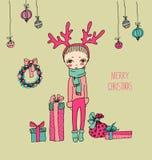 Carte de Noël mignonne dans le vecteur illustration stock