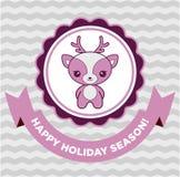 Carte de Noël mignonne de cerfs communs Image stock