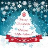 Carte de Noël mignonne tirée par la main avec l'arbre Image stock