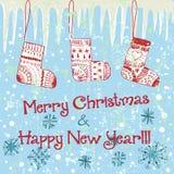 Carte de Noël mignonne tirée par la main avec le glaçon Photographie stock libre de droits
