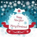 Carte de Noël mignonne tirée par la main avec le sac Photos stock