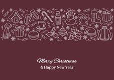 Carte de Noël ou bannière horizontale avec des icônes de vacances Silhouettes blanches d'un bonhomme de neige, chapeau de Santa,  Photographie stock libre de droits