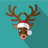 Carte de Noël plate d'icône de renne Image libre de droits