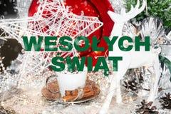 Carte de Noël polonaise, wiÄ… t, swiat de wesolych, Pologne, table, neige, boule de Noël, Noël de› du ych Å de 'de wesoÅ illustration de vecteur