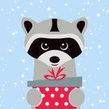 Carte de Noël Portrait de raton laveur avec le boîte-cadeau, flocon de neige Visage drôle de bande dessinée d'un raton laveur Ill Photo stock