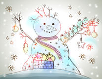 Carte de Noël pour la conception de Noël avec le bonhomme de neige Images stock