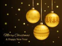 Carte de Noël rectangulaire ou de nouvelle année Boules d'or réalistes Images libres de droits