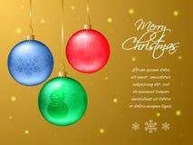 Carte de Noël rectangulaire ou de nouvelle année Boules multicolores réalistes Image stock
