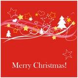 Carte de Noël rouge avec le souhait blanc de Joyeux Noël Photographie stock libre de droits