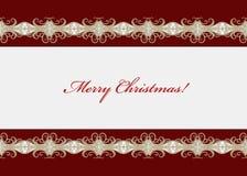 Carte de Noël rouge avec swirly la frontière sans couture illustration de vecteur